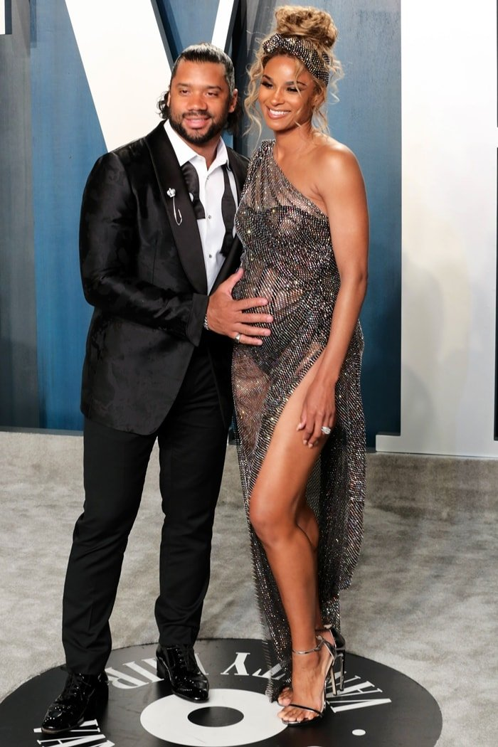 Russell Wilson and Ciara attend the Vanity Fair Oscar Party at Wallis Annenberg Center for the Performing Arts