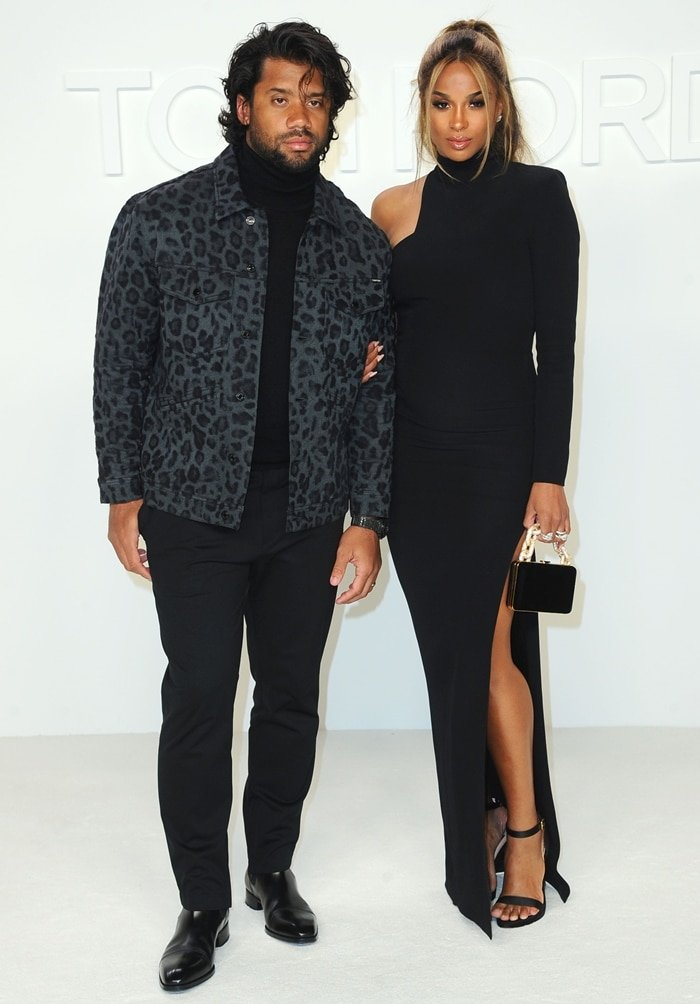 Russell Wilson (L) and Ciara attend the Tom Ford AW20 Show at Milk Studios