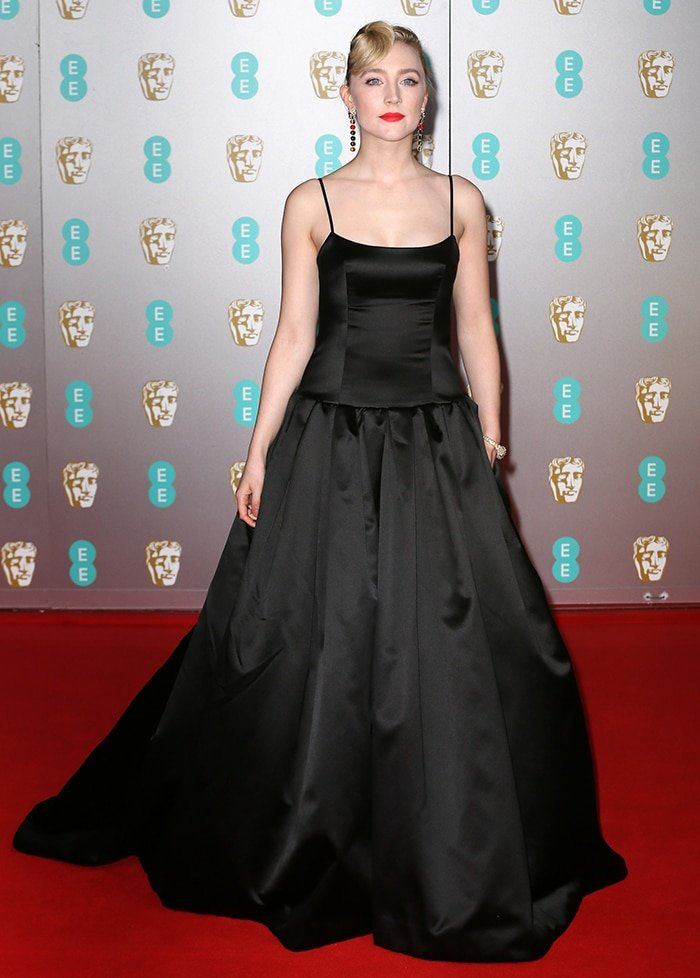 Saoirse Ronan in a black Gucci gown made from discarded satin