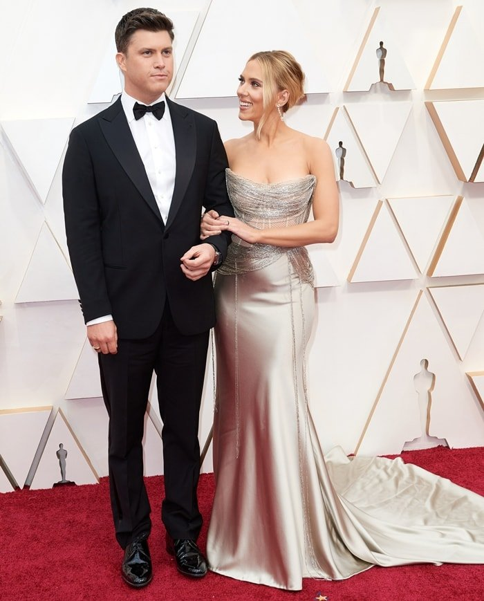 Colin Jost and Scarlett Johansson arrive at the 92nd Annual Academy Awards at Hollywood and Highland