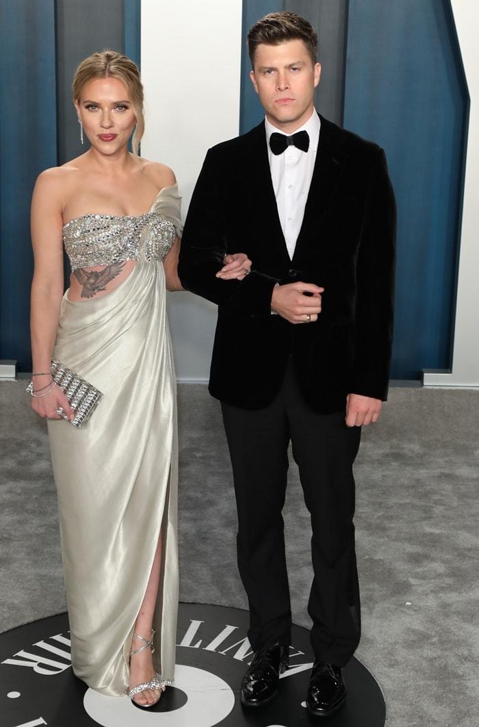 Scarlett Johansson and Colin Jost arrive at the 2020 Vanity Fair Oscar Party