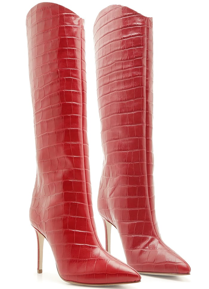 Schutz 'Maryana' Croc-Effect Knee-High Boots