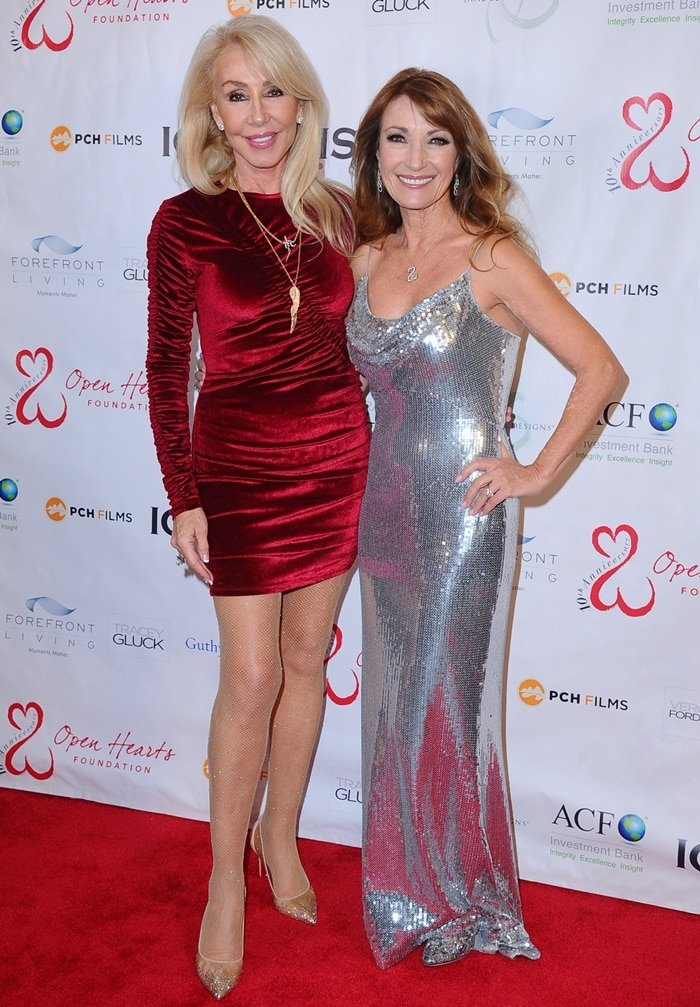 Songwriter Linda Thompson (L) and Actress Jane Seymour (R) attend the Open Hearts Foundation 10th Anniversary Gala