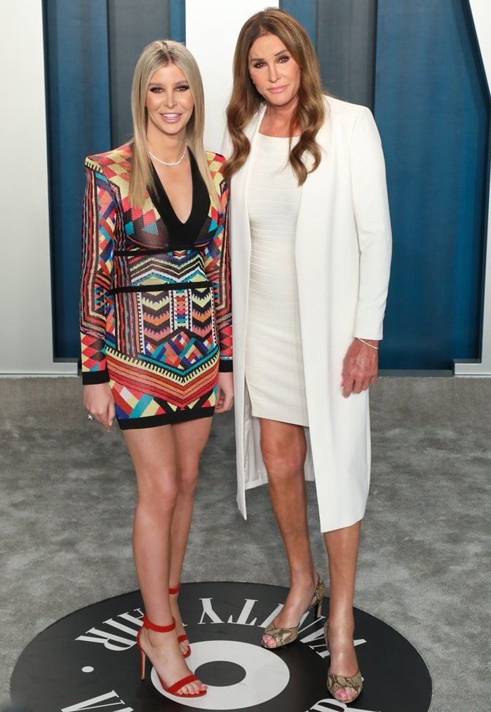 Sophia Hutchins and Caitlyn Jenner attend the 2020 Vanity Fair Oscar Party