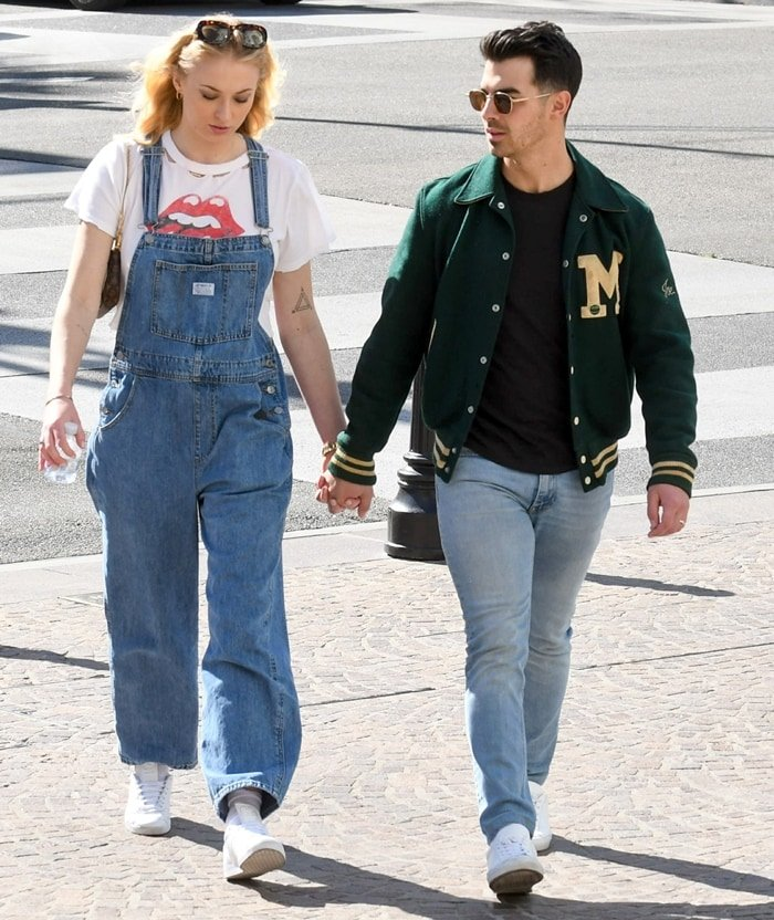 Joe Jonas and his pregnant wife Sophie Turner are seen on February 28, 2020, in Los Angeles, California