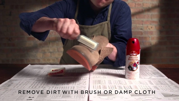 Use a cleaning brush or a damp cloth to lightly brush away dirt