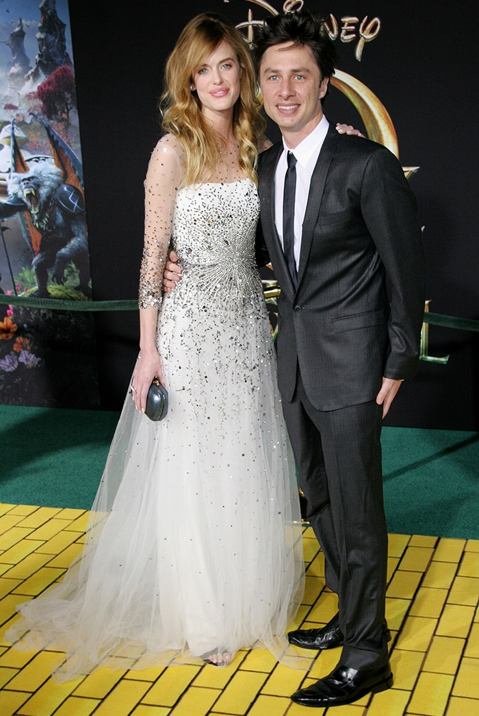 Zach Braff and then-girlfriend Taylor Bagley OZ The Great And Powerful LA premiere on February 13, 2013