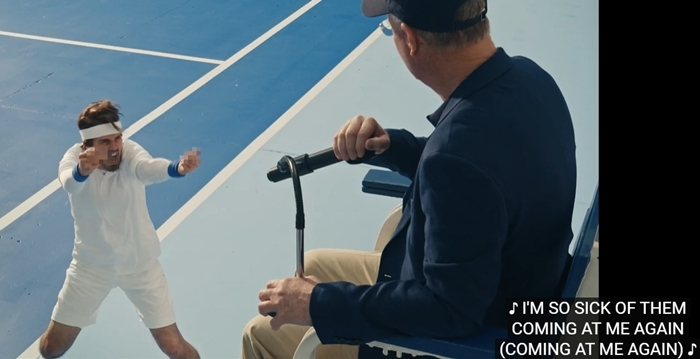 The music video contains a visual reference to tennis player Serena Williams' match controversy with a chair umpire at the 2018 US Open Championships