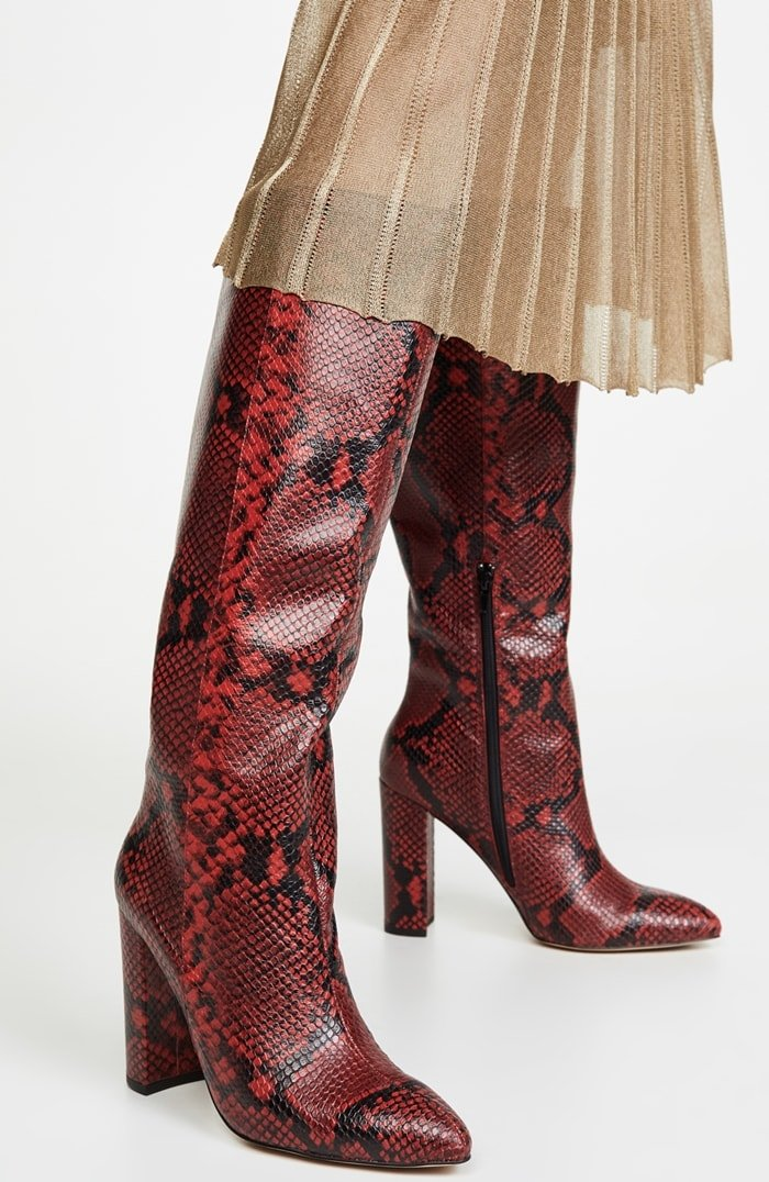 Crafted from snake-embossed leather, this tall, extra-chic pair of Villa Rouge boots will make you feel like you can do anything