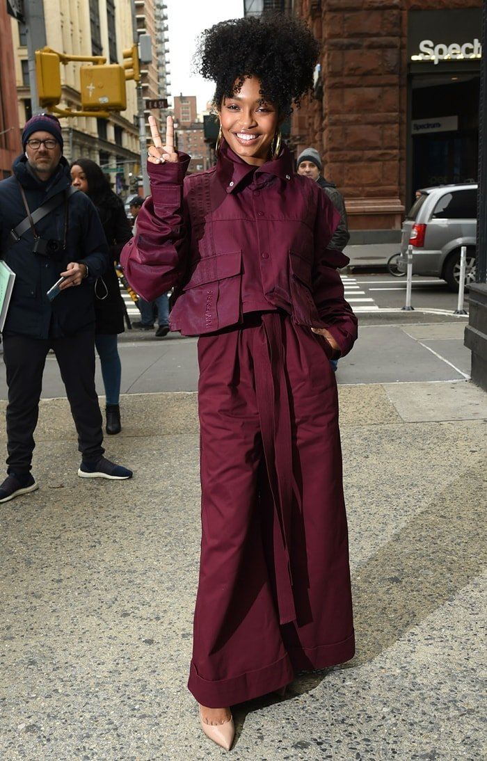 Yara Shahidi is seen in an outfit from the Adidas x Ivy Park capsule collection