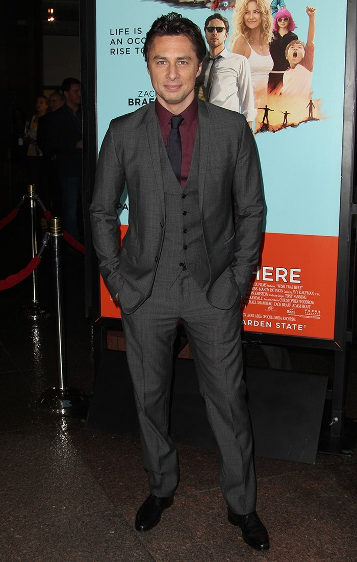 Zach Braff at the premiere of his movie Wish I Was Here in Los Angeles on June 23, 2014