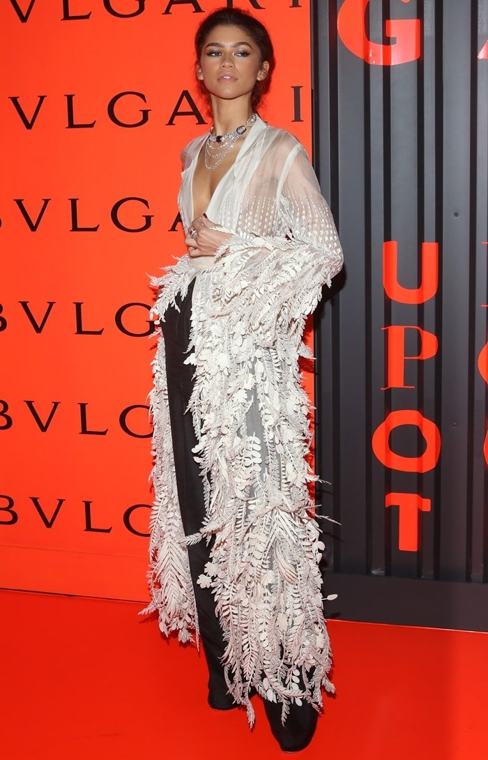 Zendaya attends the Bvlgari B.zero1 Rock collection event in a plunging leaf-inspired dress