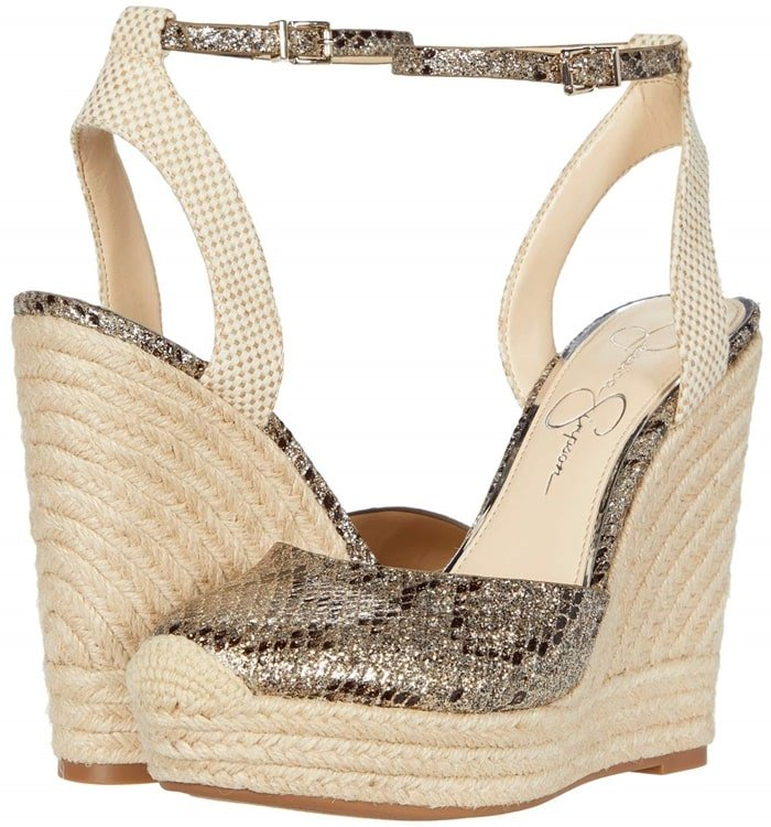 Bring your look to life in the Jessica Simpson Zestah espadrille wedges featuring an ankle strap with buckle closure