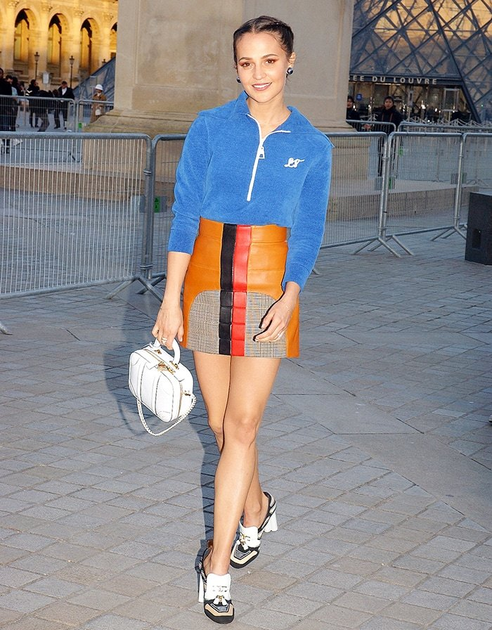 Alicia Vikander in head-to-toe Louis Vuitton at the Louis Vuitton show during Paris Fashion Week on March 3, 2020