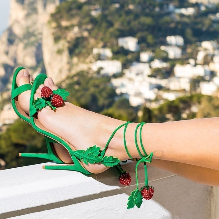 Jungle green Fragolina sandals with beaded strawberry and leaf accents