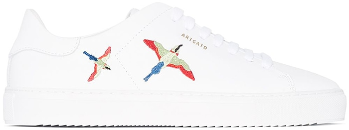 White leather Clean 90 bird embroidered sneakers from Axel Arigato