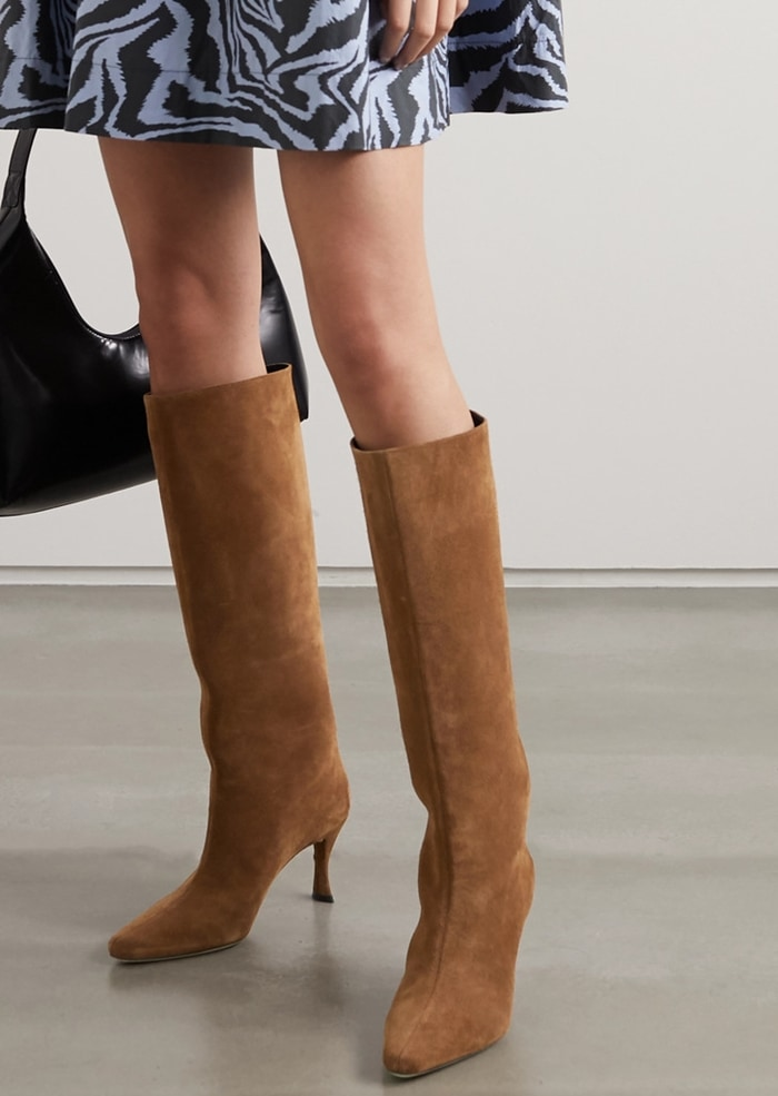 By Far Steve suede brown boots with sculptural curved heel