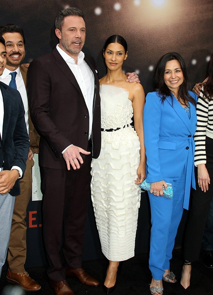 Ben Affleck and Janina Gavankar at the premiere of their movie, The Way Back, held at Regal LA Live in Los Angeles on March 1, 2020