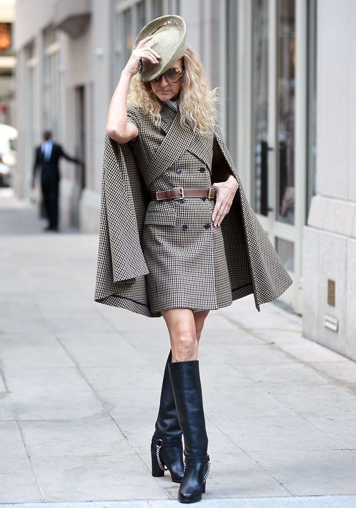 Celine Dion struts her stuff in country-chic equestrian-style outfit complete with Eric Javits hat
