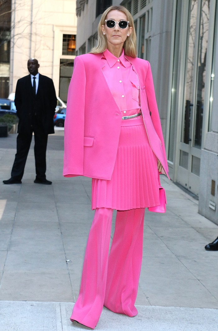 Celine Dion turns Manhattan streets into her runway in head-to-toe pink Peter Do suit on March 7, 2020