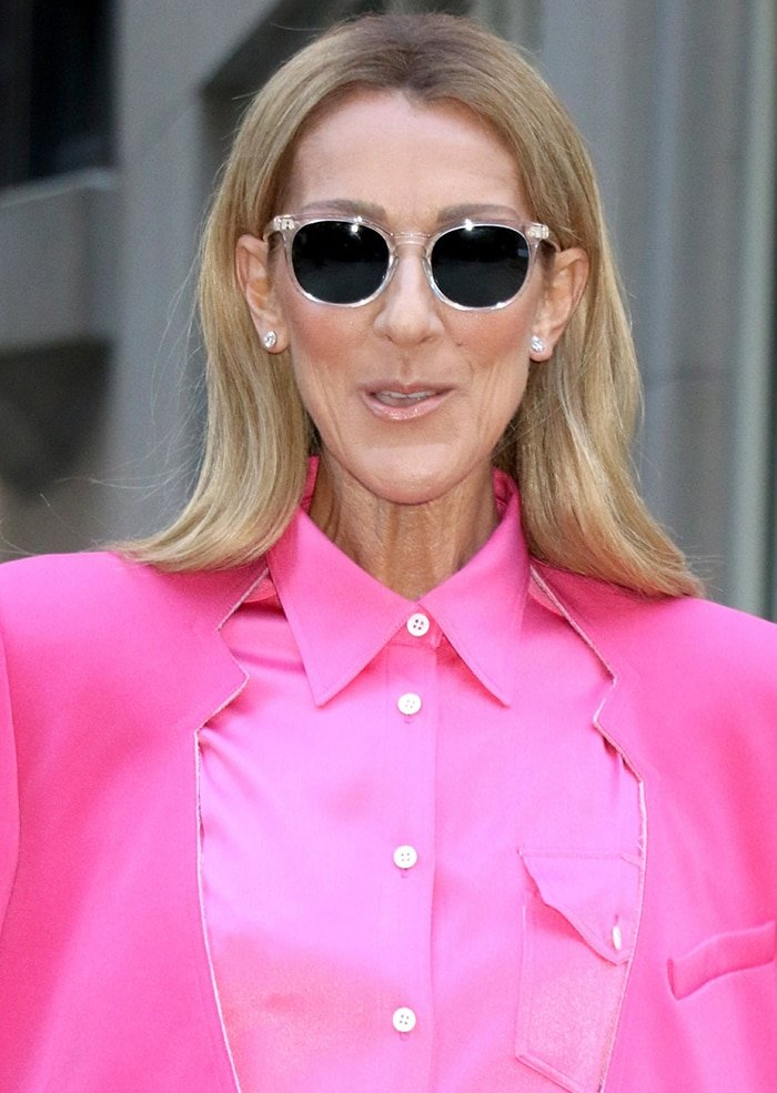Celine Dion shields her eyes behind black sunnies and wears light pink lip shade