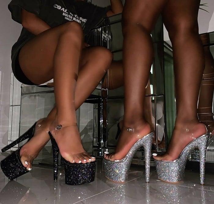 Charis Clear Glitter Platform Heels