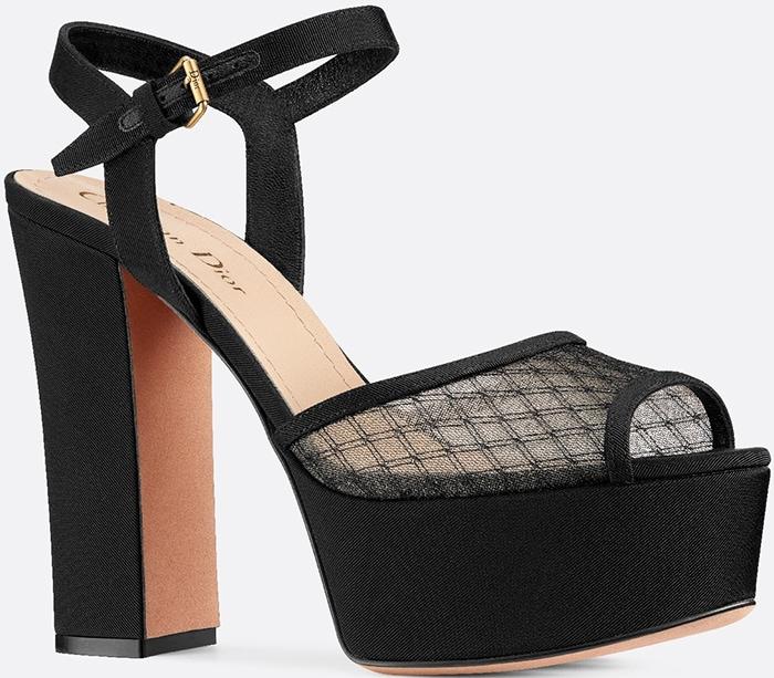 Dior Black Goldendior Fishnet and Grosgrain Sandals