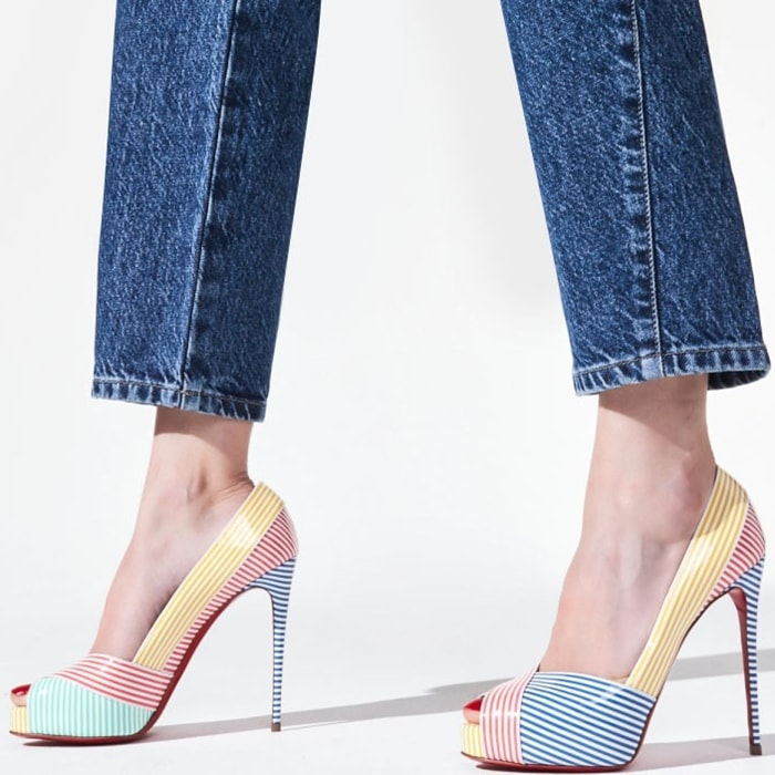 The stiletto heel is 120mm and coated in glorious blue and white stripes