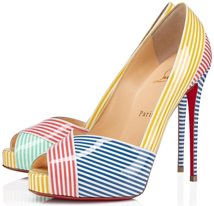 Christian Louboutin Marine Alta pumps in directionally striped patent leather