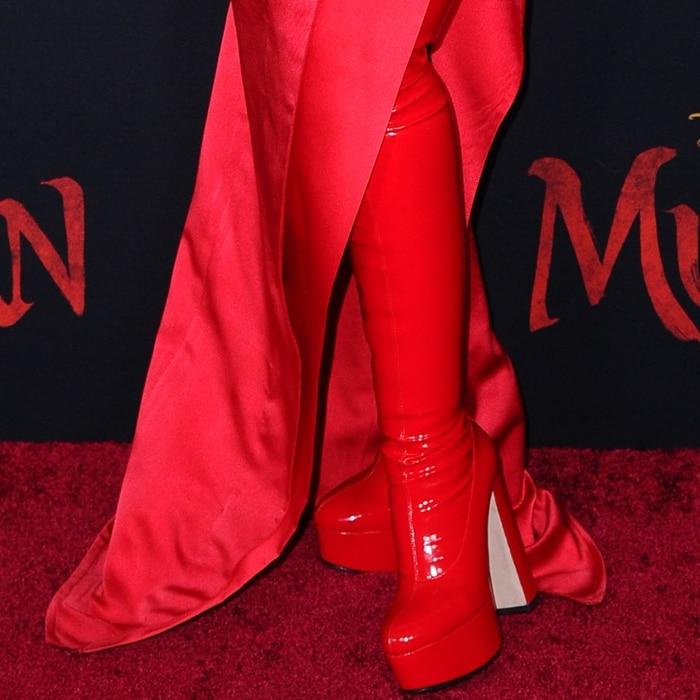 Christina Aguilera's red latex boots from Gina Shoes