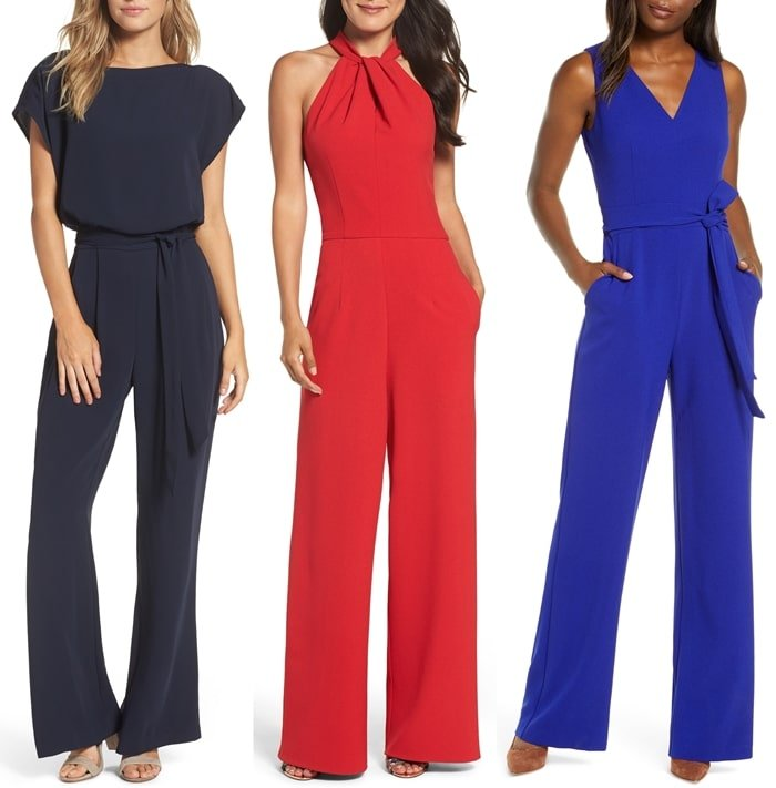 Cocktail jumpsuits from Eliza J, Julia Jordan, and Vince Camuto