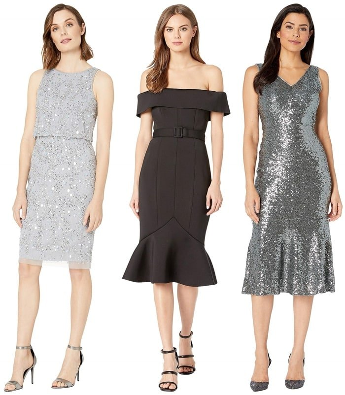 Cocktail dresses from Adrianna Papell, Badgley Mischka, and Maggy London
