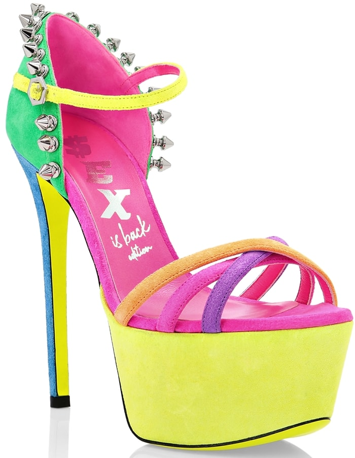 The 70's strongly influenced the look of these multicolour suede platform sandals with stiletto heel