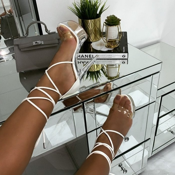 White Destiny Patent Clear Platform Heels
