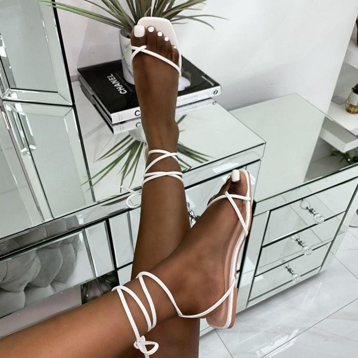 Daryl Patent Python Print Flat Sandals