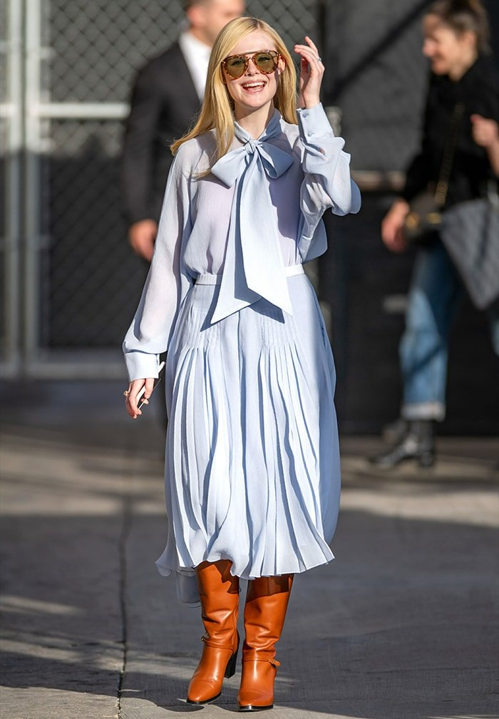 Elle Fanning arriving at the El Capitan Entertainment Center in Los Angeles for an appearance on Jimmy Kimmel Live! on March 4, 2020