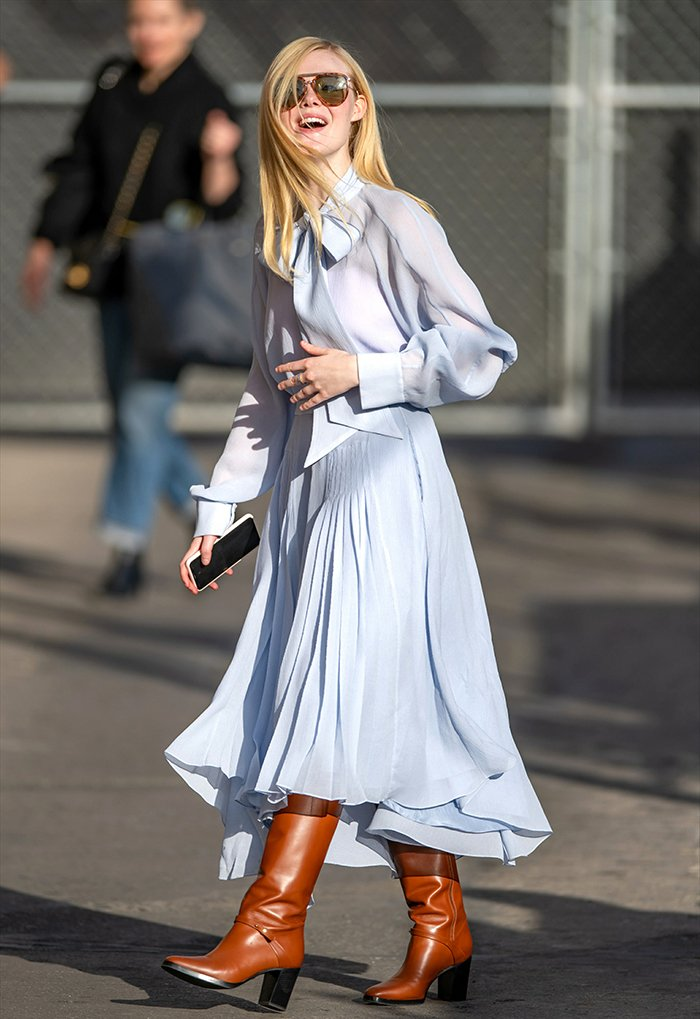 Elle Fanning in matching pastel blue Rochas blouse and midi skirt