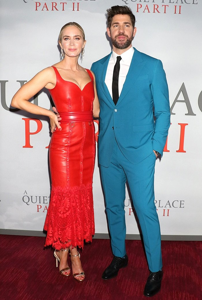 Emily Blunt in Alexander McQueen dress with husband John Krasinski at the A Quiet Place Part II premiere on March 8, 2020