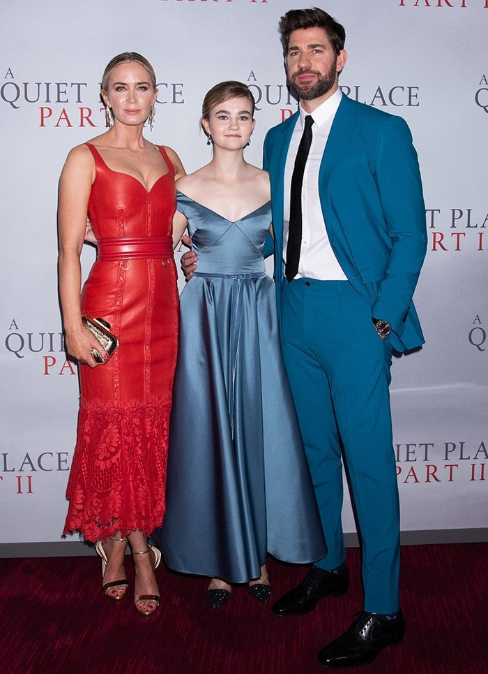 Emily Blunt, Millie Simmonds, and John Krasinski pose together at the A Quiet Place II premiere on March 8, 2020