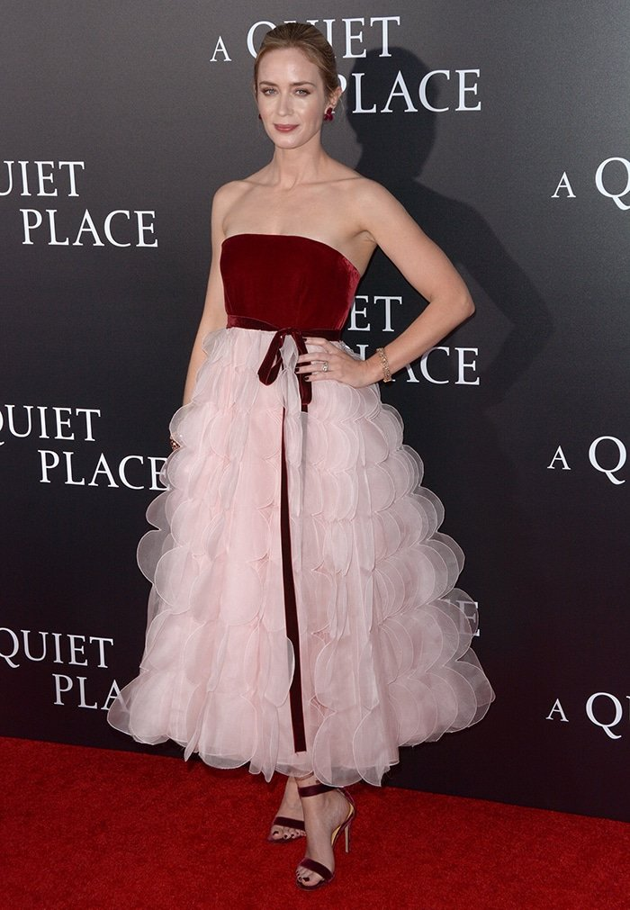 Emily Blunt in Oscar de la Renta Fall 2018 dress at the A Quiet Place New York Premiere on April 2, 2018
