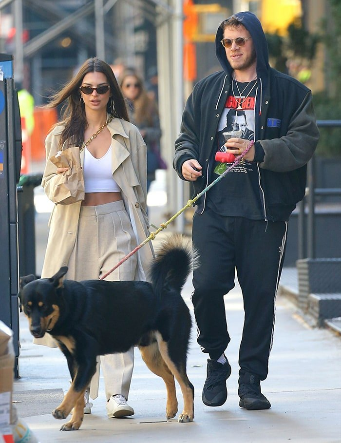 Emily Ratajkowski and husband Sebastian Bear-McClard take Colombo out for a walk on February 17, 2020