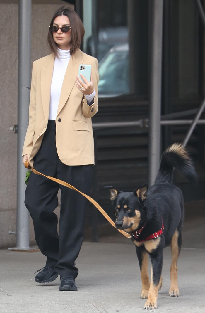 Emily Ratajkowski opts for business-chic in Givenchy blazer as she walks her dog, Colombo, in New York City on March 11, 2020