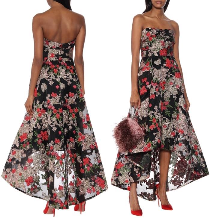 Marchesa Notte Strapless Floral Fil Coupé Dress