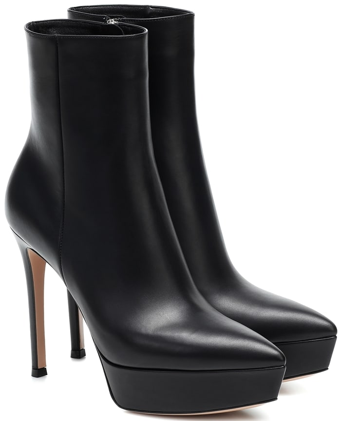 Black leather Dasha platform booties from Gianvito Rossi featuring a pointed toe, an ankle length, a side zip fastening, a platform sole and a high stiletto heel