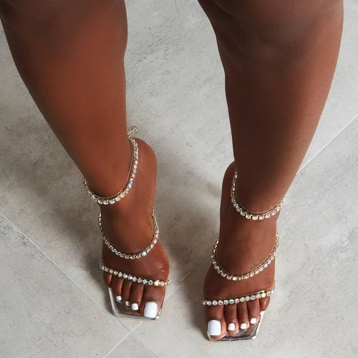 High heel sandals featuring three crystal ankle straps