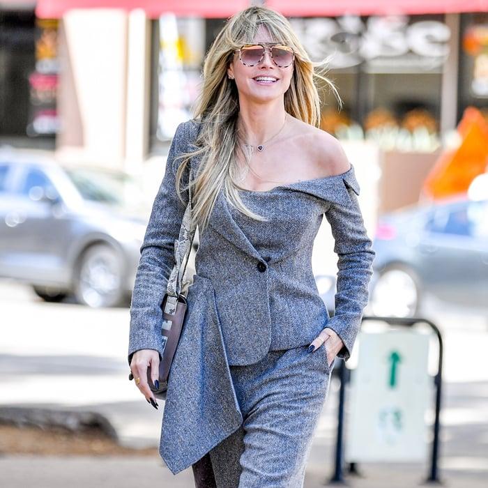 Heidi Klum's Monse asymmetric deconstructed blazer