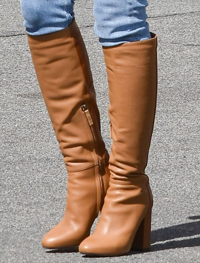 Hilary Duff completes her casual look with Tabitha Simmons boots