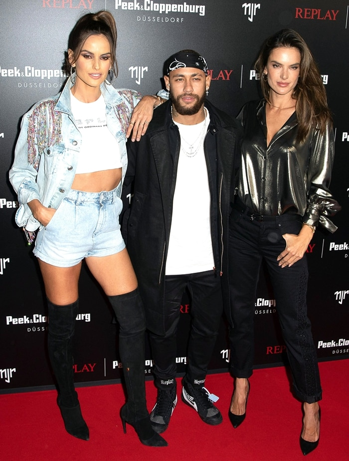 Izabel Goulart, Neymar Jr, and Alessandra Ambrosio attend the launch event for the new Capsule Collection Neymar Jr. x Replay