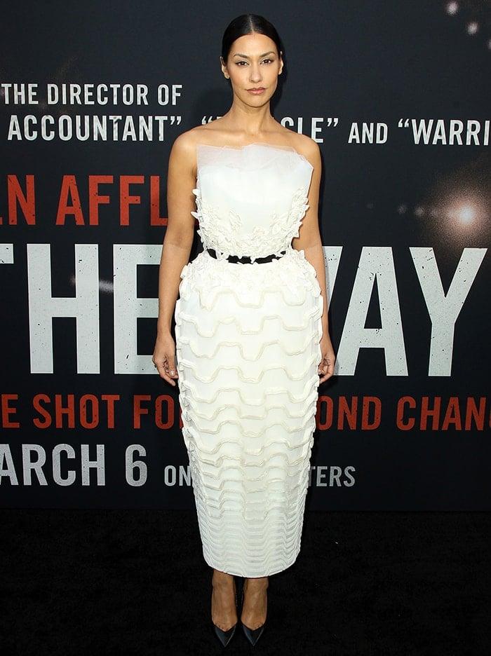 Janina Gavankar flaunts her tiny waist in an Azzi & Osta Fall white dress