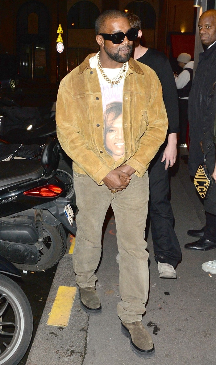 Kanye West wearing a t-shirt with his mother Donda West's face